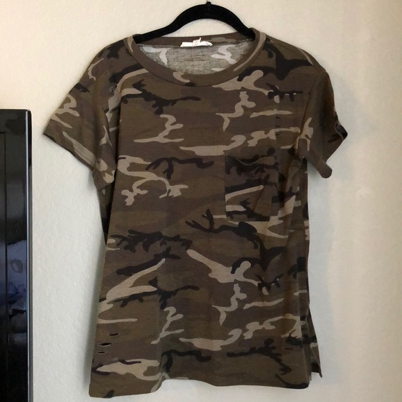 2797e5cd Honey Punch Tops | Distressed Camo Tee | Poshmark